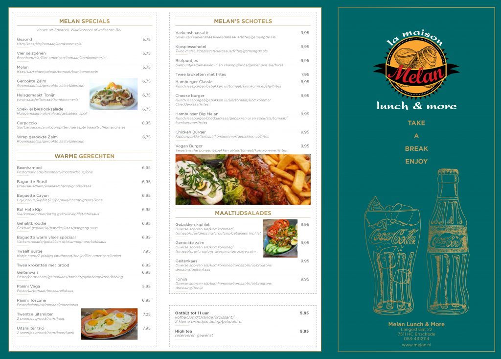 Menukaart | Melan Lunch & More | Enschede